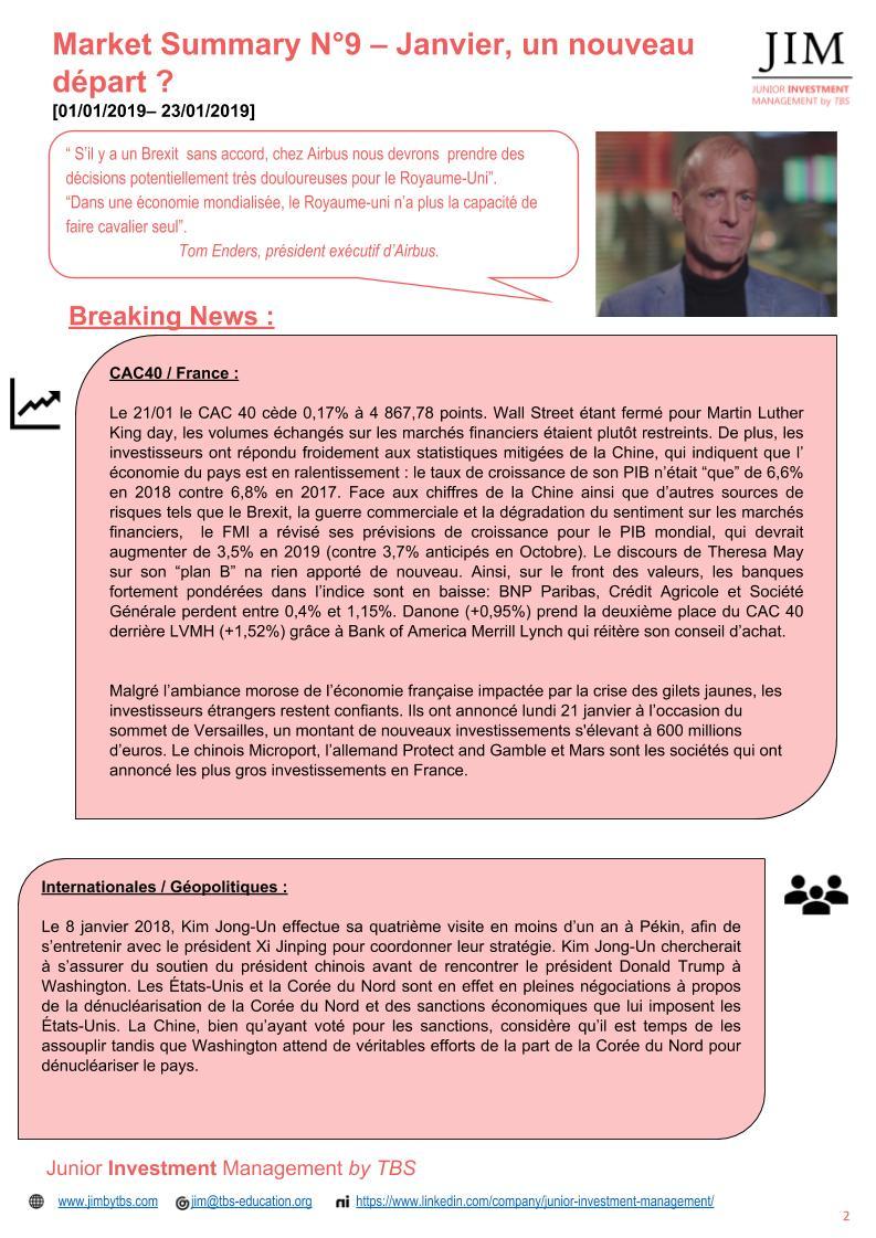 Slide 2 Market Summary N°9 - Janvier