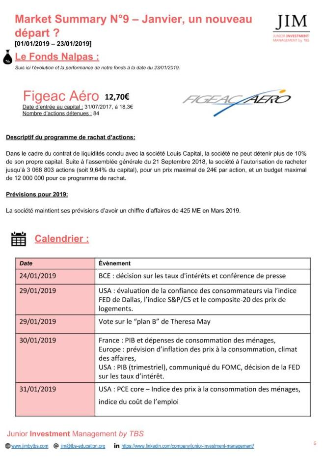 Slide 6 Market Summary N°9 - Janvier